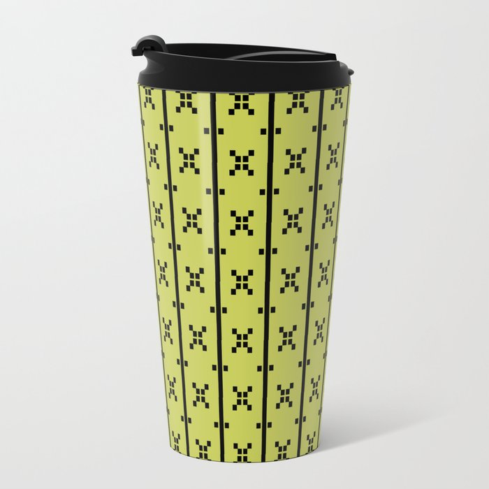 Squares and Stripes in Citrine #pattern #squares #stripes Travel Mug