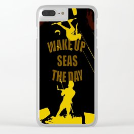 Wake Up Seas The Day Kiteboarder Brown and Yellow Clear iPhone Case