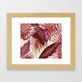 HAWAIIAN GARDEN TROPICAL LEAVES| burgundy ivory Framed Art Print