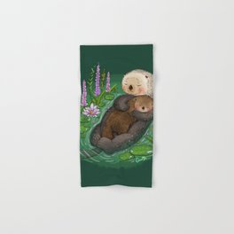 Sea Otter Mother & Baby Hand & Bath Towel