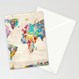 world map music art Stationery Cards