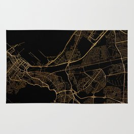 Black and gold Cape Town map Rug