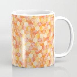 Cheerful Summery Orange and Yellow Hexagons Pattern Coffee Mug