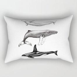 Beluga, humpback whale and orca killer whale Rectangular Pillow