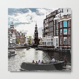 Amsterdam Canals and Fair Weather Clouds Metal Print
