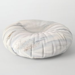 Neutral Driftwood Gray Abstract with Silver Foil Floor Pillow