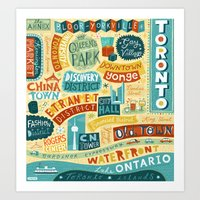 toronto Art Prints featuring Toronto by Linzie Hunter