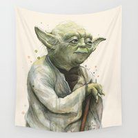 yoda Wall Tapestries featuring Yoda Portrait by Olechka