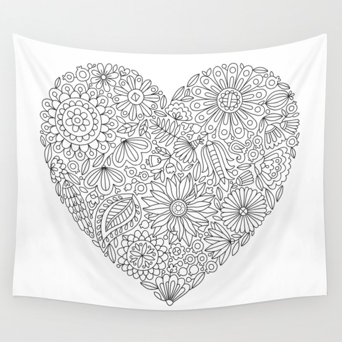 Flowers Heart Coloring Page, Flourish and Bloom Wall Tapestry by  annagrunduls