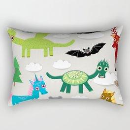 magic pattern with funny dragon bats unicorn horse deer bird wolf. illustration Rectangular Pillow