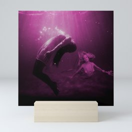 Mermaid Saves Drowning Victim in Fuchsia Pink Underwater Scene Mini Art Print