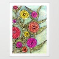 Zinnias at DeFries Garden Art Print