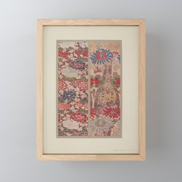 Verneuil - Japanese paper and fabric designs (1913) - 16: Chrysanthemums & Peonies Framed Mini Art Print
