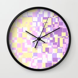 Abstract Geometric pixels with Unicorn Colors design Wall Clock