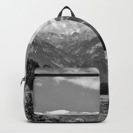 panorama cloudy alps serfaus fiss ladis tyrol austria europe black white Backpack