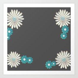 Gray,blue flowers Art Print