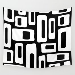 Retro Mid Century Modern Abstract Pattern 335 Black and White Wall Tapestry