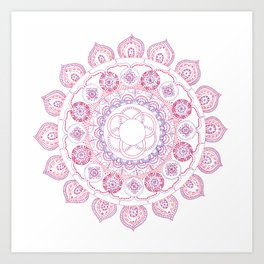 red and purple mandala Art Print