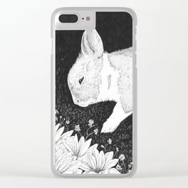 bunny in black and white Clear iPhone Case