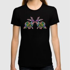 Kissing Watercolor Bunnies LARGE Womens Fitted Tee Black