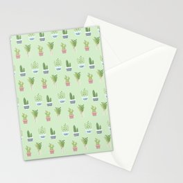 Modern pastel green pink trendy cactus floral pattern Stationery Cards