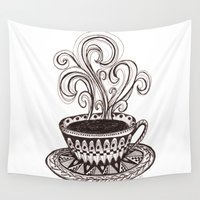 coffee Wall Tapestries featuring Coffee by Laura Maxwell