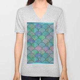 Informe Abstracta Green Fish Scale Pattern Abstract Design Unisex V-Neck