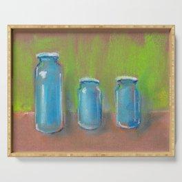 Stil-Life - Three blue bottles on a green pastel background. Serving Tray