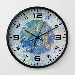 Blue Gold Swirls #2 Wall Clock