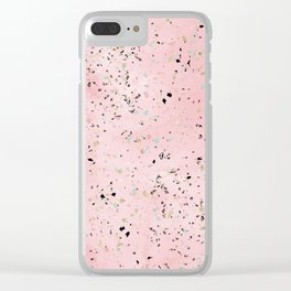 Blush and gold marble terrazzo design Clear iPhone Case