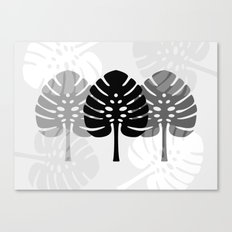 Tropical leaves in grey Canvas Print