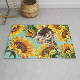 Highland Cow with Sunflowers in Blue Rug
