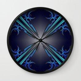 Blue & Green Tribal Tattoo Wall Clock