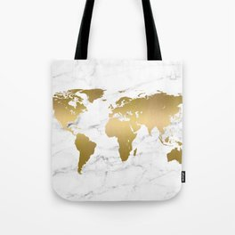 Metallic Gold World Map On Marble Tote Bag