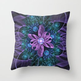 Bejeweled Butterfly Lily of Ultra-Violet Turquoise Throw Pillow