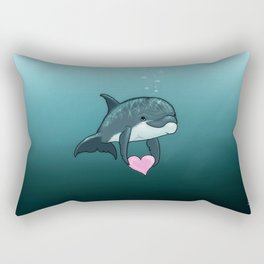 """Love Ya"" by Amber Marine ~ Toon Baby Dolphin Art, (Copyright 2014) Rectangular Pillow"