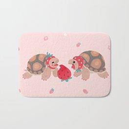 Tortoises love strawberries Bath Mat
