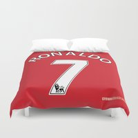 ronaldo Duvet Covers featuring Set of Seven: Ronaldo 7 by Crewe Illustrations
