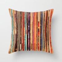 vinyl Throw Pillows featuring Vinyl by bomobob