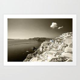 Santorini Seascape in sepia Art Print