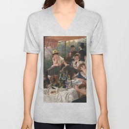 Luncheon of the Boating Party by Renoir Unisex V-Neck