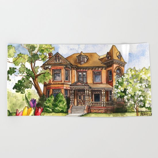 Victorian Mansion in the Spring Beach Towel