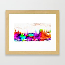 The International Skyline Watercolor Framed Art Print