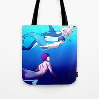 iwatobi Tote Bags featuring Swim With Me by Blue