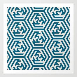 Moroccan Teal Ornate Geometric Pattern Art Print