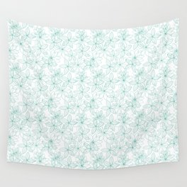 Floral Freeze White Wall Tapestry