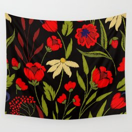 Floral embroidery Wall Tapestry