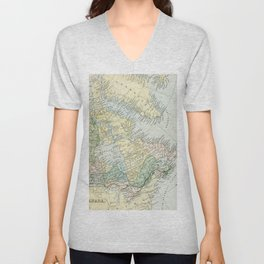 Vintage Map of The East Of Canada Unisex V-Neck