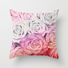 Some people grumble II  Floral rose flowers pink and multicolor Throw Pillow