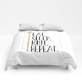 Eat Sleep Knit Repeat Comforters
